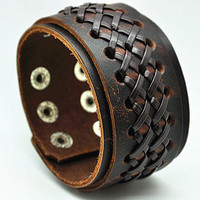 Brown Real Leather Women Leather Jewelry Bangle Cuff Bracelet, Men Leather Bracelet  RZ0207