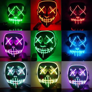 EL Light Mask Up Funny Mask from The Purge Election Year Great for Festival Cosplay Halloween Costume 2018 New Year Cosplay