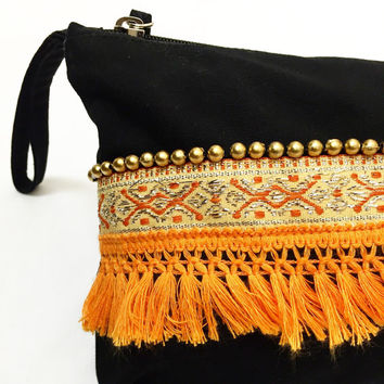 Make up bag/Cosmetic bag/Beach purse/Travel bag/Pom Pom Bag/Tassels *FREE SHIPPING to AUSTRALIA
