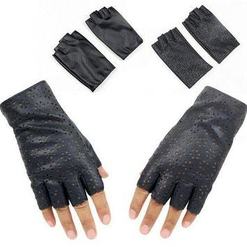 ac PEAPO2Q Fashion Female Thin Breathable PU Leather Punk Dance Gloves Women Half Finger Driving Gloves Fingerless Nightclub Show Glove L68
