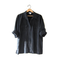 vintage black silk shirt. slouchy silk blouse. silk pocket shirt. long sleeve silk top.