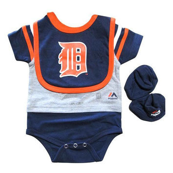 Tigers Creeper Bib Bootie Set - Navy