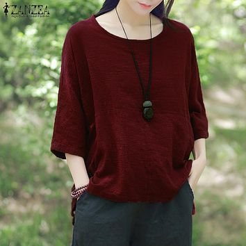 Vintage O-neck 3/4 Sleeve Cotton Linen Casual Loose Solid Shirt Baggy Blouse Plus Size