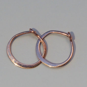 Solid 14k Rose Gold Hoops, Half Inch Minimalist Polished Shiny Rose Gold, Tiny Hoop Earings, 12 mm Everyday Sleepers with Locking Clasp