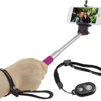 "Extendable Selfie Stick with Bluetooth Remote by CamKix® - With Universal Phone Holder Suitable for iPhone, Samsung, and Other Devices up to 3.25 Inches in Width - Fully Adjustable Handheld Monopod 11"" - 40"" - Light, Compact, and Easy to Carry With You (Ho"