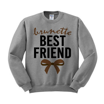 Brunette Best Friend Bow Crewneck Sweatshirt