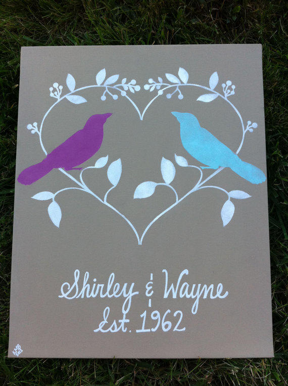 Wedding Gift Canvas Art : Custom Wedding Sign, Personalized Canvas, from Silver Bird