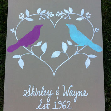 Custom Wedding Sign, Personalized Canvas, Made to Order, Wedding Art, Love Birds Painting , Reception Decoration, Anniversary, Gift Idea