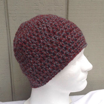 Crochet mens beanie - Chunky wool beanie - Teens hat - Mens accessories