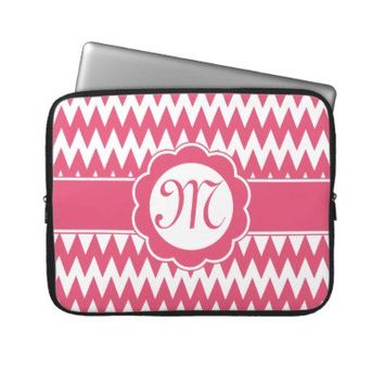 Pink Chevron Pattern & Monogram Flower Laptop Computer Sleeve from Zazzle.com