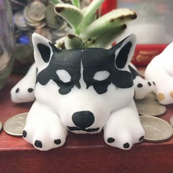 Dog Planter, Siberian Husky, 3d Printed, Home Decor, Gardening, Cute, Cuddle, Womens Gift, Dog Lover, Snow, Organizer
