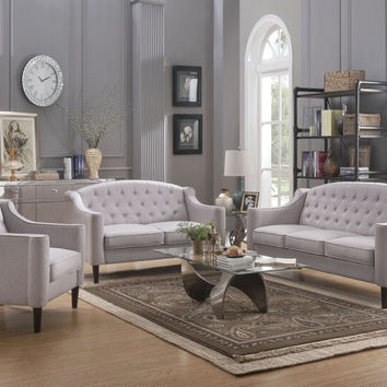 Acme 52715-16 2 pc Freesia cream fabric tufted backs sofa and love seat set