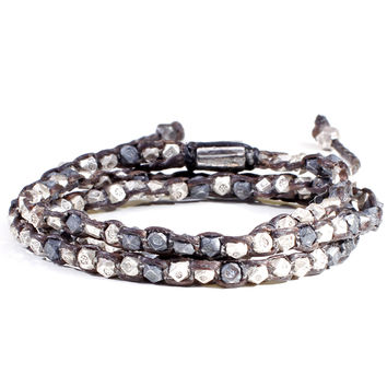 Oxidized Silver Nugget 2-Layer Bracelet