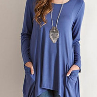 Blue Long Sleeve Pocket Detail T-shirt