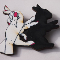 Bunny Rabbit Shadow Puppets with Pink Nails Laser Cut Wood Brooch