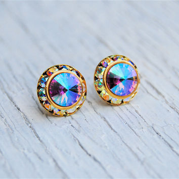 Lavender Rainbow Gold Aurora Borealis Rhinestone Stud Earrings Swarovski Crystal Purple Rainbow Soft Femenine Bridesmaid Wedding