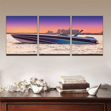 Modern Pictures Canvas Oil Poster Hd Printed Wall Art 3 Pieces Home Decor Sunset Yacht Ship Boat Seascape Painting Framed PENGDA
