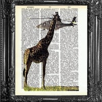 Giraffe Art with Heliocopter-Dictionary Art Print Book Page Art-Upcycled Antique Book Art-Dorm College Home Wall Decor Dorm Room Decor