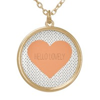 Hello Lovely Heart Round Pendant Necklace