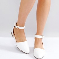 RAID Debbie White Ankle Strap Ballet Shoes at asos.com