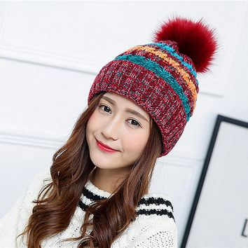 [TIMESWOOD] Kawaii Pom Poms Knitted Hat Ladies Ball Beanies Winter Hats For Women Skullies Brand New Thick Female Knit Caps