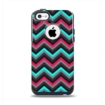 The Sharp Pink & Teal Chevron Pattern Apple iPhone 5c Otterbox Commuter Case Skin Set
