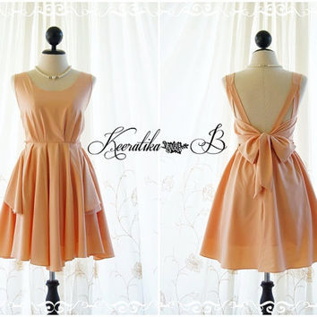 A Party - V Shape Dress - Prom Party Cocktail Bridesmaid Wedding Night Dress Sweet Pale Tangerine Glamorous Backless Cocktail Dress