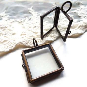 2 Brass Colored Square Clear Glass Double Pane Lockets For Display Items