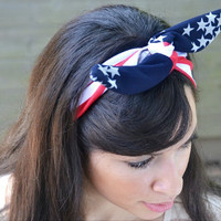 Patriotic American Flag dolly bow head band