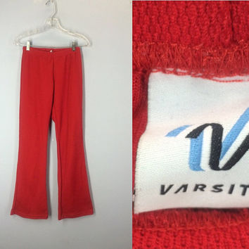 Vintage Bell Bottom Pants, Soft Varsity 70s Gym Pants, 1970s Flare Leg Pants, High Waist Sweat Pants, Red Knit Pants, Small Medium