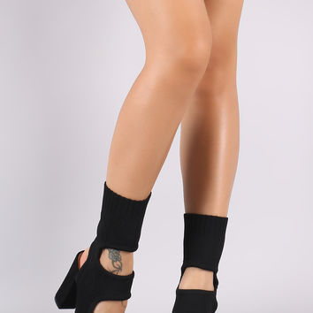 Bamboo Sweater Knit Cut Out Chunky Heeled Mid Calf Boots