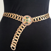 Vintage Metal Belt Gold Tone Belt Floral Belt Buckle Flattened Metal Chain Belt Vintage Flower Belt Adjustable Metal Belt
