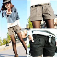 autumn and winter women's turn-up straight woolen bootcut short pants plus large big size casual shorts black grey