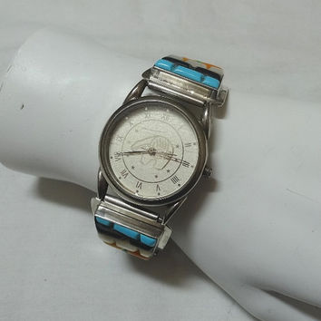 Vintage Gemstone Lady's Watch with Sterling Silver Backing & Flex Band, Japanese Movement, Vintage Watch, Vintage Jewelry, Sterling Silver