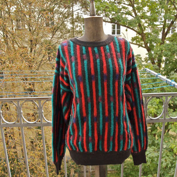 1980's Missoni Mohair Uomo Red, Black, Teal, Eggplant Colorblock Men's Pullover Jumper
