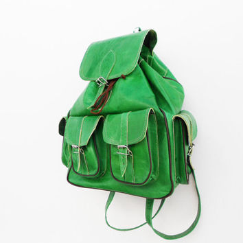 SALE - Light Green Leather Backpack ,School Bag for Girls Boys, pistachio green Leather Bag, Birthday Anniversary Gift