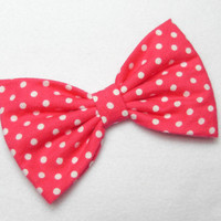 Hot Pink POLKADOTS bow Hot pink bow hot pink hair bow retro hair bow white polkadots hair clip polka dots hair clip polkadot bow women teens