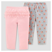 Baby Girls' 2pk Pants - Just One You™ Made by Carter's® Gray/Pink Floral