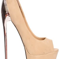 BEIGE PEEP TOE LOOK POLISHED PLATFORM HIGH HEELS