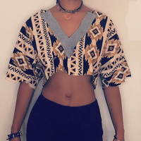 Tribal and denim crop top vneck with gold studs handmade to order