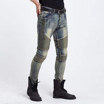 Enzyme Wash Drapped Folds Skinny Jeans