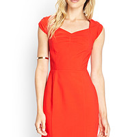 LOVE 21 Cap Sleeve Shift Dress Red