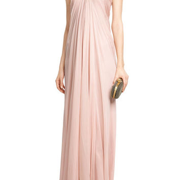 Draped Floor Length Silk Dress - Alexander McQueen | WOMEN | GB STYLEBOP.com