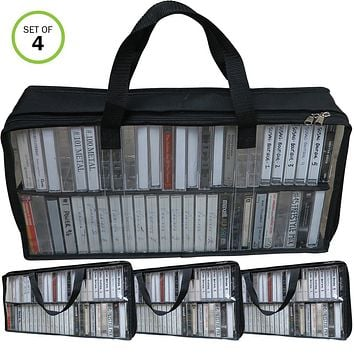 Evelots Cassette Tape Bag-Organizer/Storage-Easy Carry-No Dust/Moisture-Hold 200