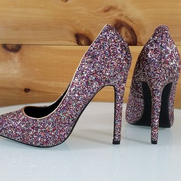 "Multi Glitter Pointy Toe Pump 4.5"" High Heel Shoes"