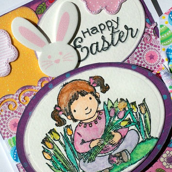 Easter Card  Handmade - Happy Easter Card Glitter - Spring Card Hand Stamped - Bunny Rabbit - Chicks - Butterflies - Flowers - Tulips