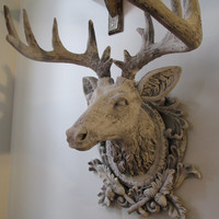 Faux buck elk head wall mount French Nordic ornate white distressed deer huge antlers farmhouse home decor wall hanging anita spero design