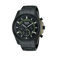 Pulsar Watch - Men's On The Go Black Ion-Plated Stainless Steel Chronograph