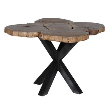 Modern Artisan Crafted Live Edge Wood & Metal Suharto Dining Table