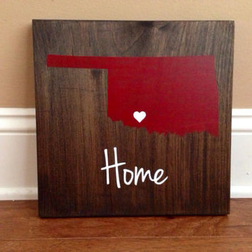 Oklahoma Wood Sign, Custom Oklahoma Sign, Stained and Hand Painted, Personalize, Oklahoma decor